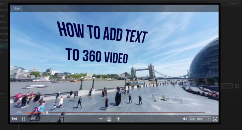 how to add text over video
